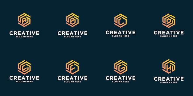 Conjunto de diseño de logotipo de inspiración de letra hexagonal creativa