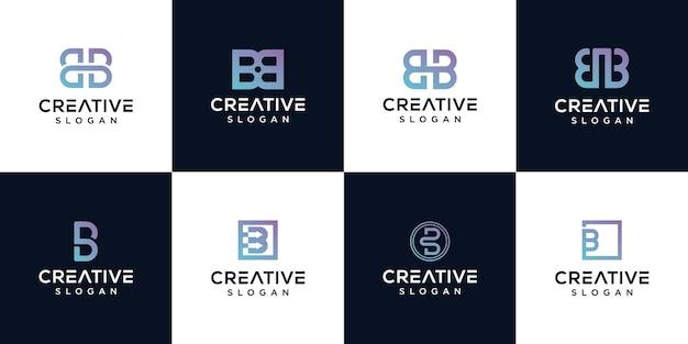 Conjunto de diseño de logotipo letra b