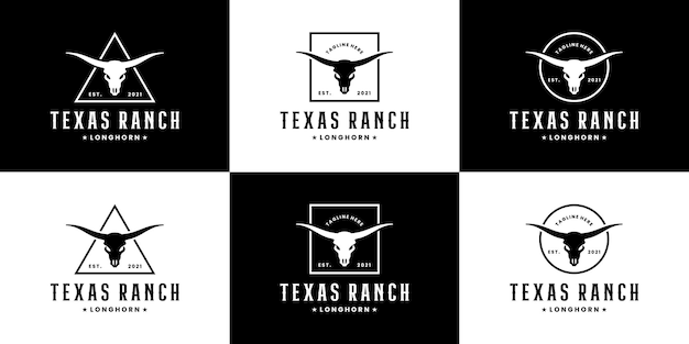 Conjunto de diseño de logotipo longhorn texas ranch. campo lateral, búfalo, vaca, toro,