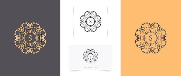 Conjunto de diseño de logotipo de mandala abstracto minimalista