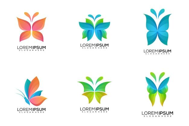 Conjunto de diseño de logotipo de mariposa