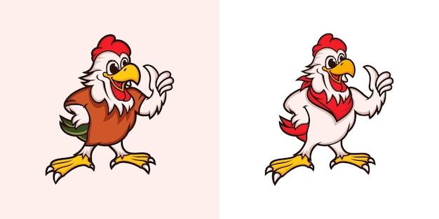 Conjunto de diseño de logotipo de mascota de pollo
