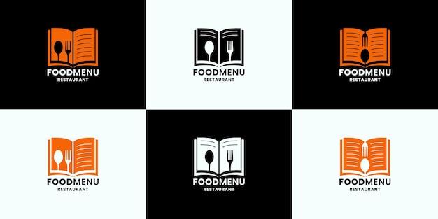 Conjunto de diseño de logotipo de menú de comida para restaurante