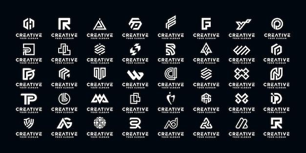 Conjunto de diseño de logotipo de monograma az inicial abstracto, iconos para negocios de lujo, elegante y aleatorio.
