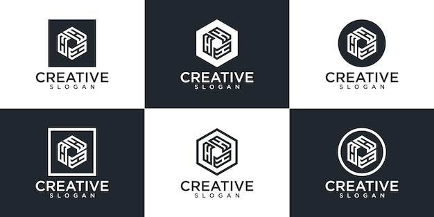 Conjunto de diseño de logotipo de monograma creativo.