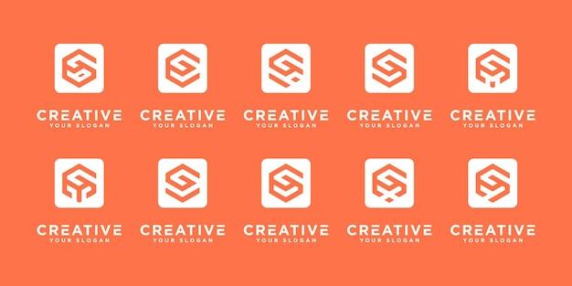 Conjunto de diseño de logotipo de monograma inicial abstracto gy etc, negocios de iconos de lujo, elegante y aleatorio.