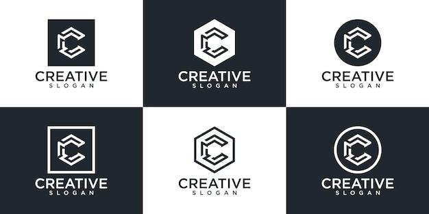 Conjunto de diseño de logotipo monograma letra c