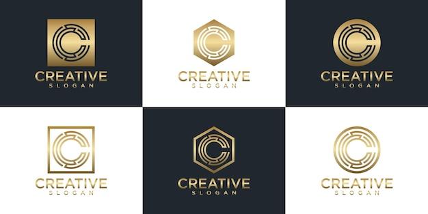 Conjunto de diseño de logotipo de monograma de oro creativo