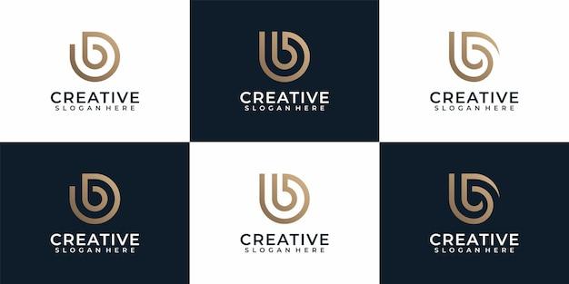 Conjunto de diseño de logotipo monograma tipografía letra b