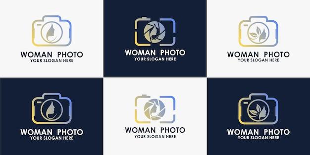 Conjunto de diseño de logotipo de mujer de cámara de belleza