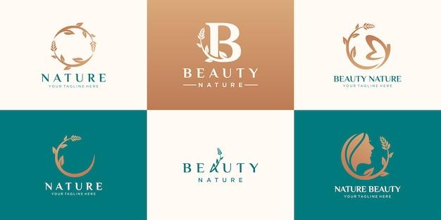 Conjunto de diseño de logotipo de naturaleza de belleza abstracta