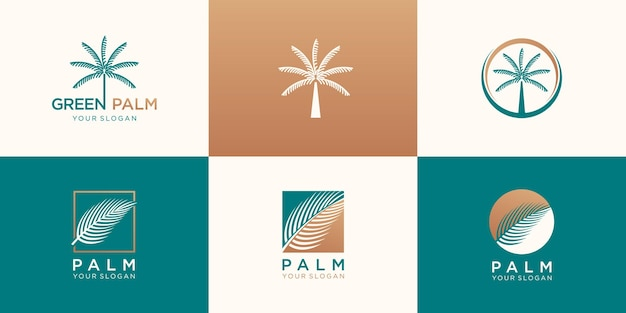 Conjunto de diseño de logotipo de palma abstracta