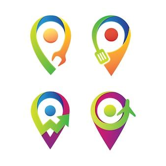 Conjunto de diseño de logotipo de pin