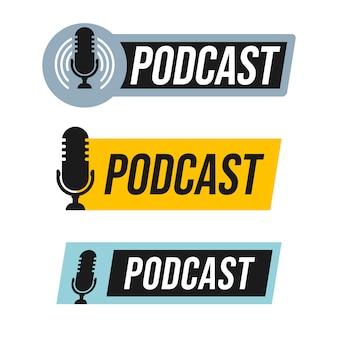 Conjunto de diseño de logotipo de podcast