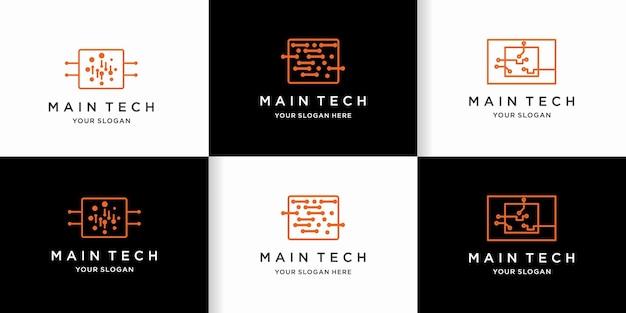 Conjunto de diseño de logotipo de procesador con circuito de puntos