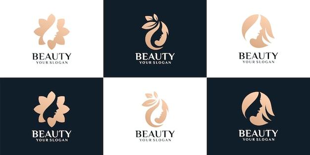 Conjunto de diseño de logotipo de silueta de peinado de mujer femenina de belleza