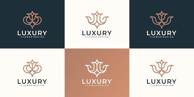 Conjunto de diseño de logotipo de sorteo de mano de flor de lujo femenino