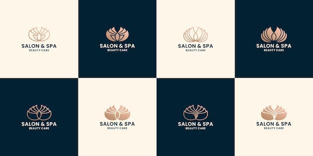 Conjunto de diseño de logotipo de spa de loto femenino de belleza para el cuidado de la salud de salón y spa