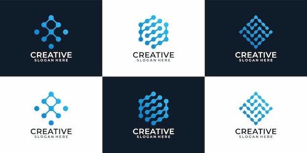 Conjunto de diseño de logotipo de tecnología abstracta moderna creativa para empresa comercial