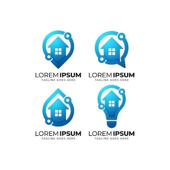 Conjunto de diseño de logotipo de tecnología para el hogar