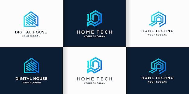 Conjunto de diseño de logotipo de tecnología para el hogar.
