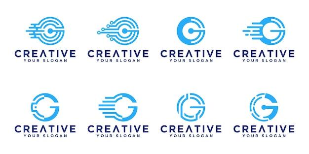 Conjunto de diseño de logotipo de tecnología de monograma abstracto creativo letra g