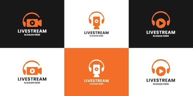 Conjunto de diseño de logotipo de transmisión en vivo limpio. el teléfono aéreo y el icono de video de la cámara se combinan.