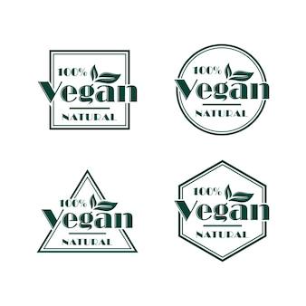 Conjunto de diseño de logotipo vegano