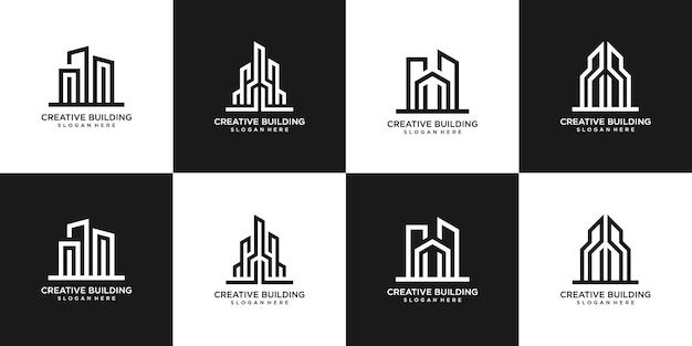Conjunto de diseño de logotipos inmobiliarios de edificios.