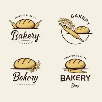 Conjunto de diseño de logotipos de panadería para tienda de panadería. ilustración de plantilla de logotipo premium