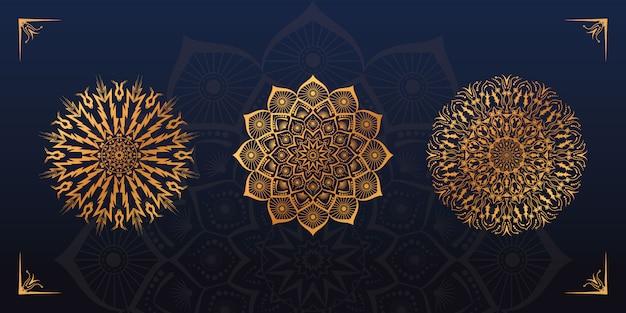 Conjunto de diseño de mandala dorado