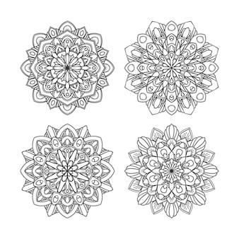 Conjunto de diseño de mandala floral