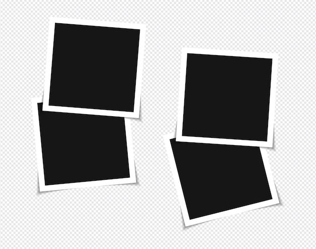 Conjunto de diseño de maqueta de marco de foto de vector en cinta adhesiva
