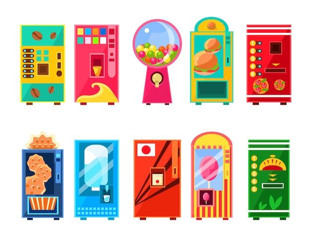 Conjunto de diseño de máquinas expendedoras de alimentos y bebidas
