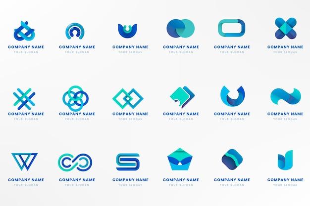 Conjunto de diseño de marca de logotipo azul