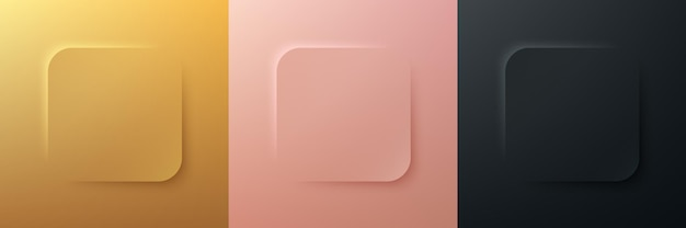 Conjunto de diseño de marco cuadrado de esquina redonda negra y oro rosa de lujo 3d abstracto