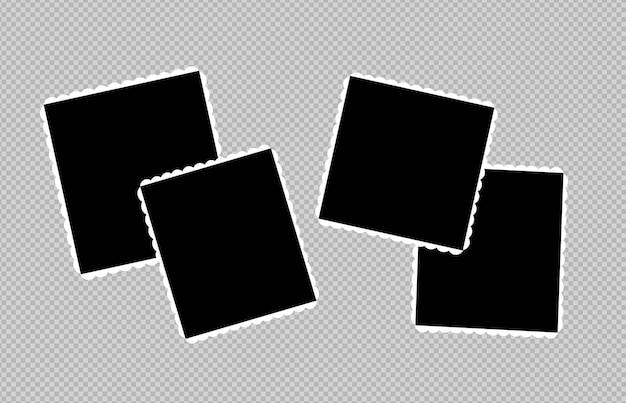 Conjunto de diseño de marco de fotos en cinta adhesiva aislada sobre fondo transparente