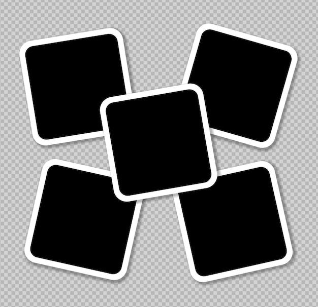 Conjunto de diseño de marco de fotos de vector en cinta adhesiva aislada sobre fondo transparente