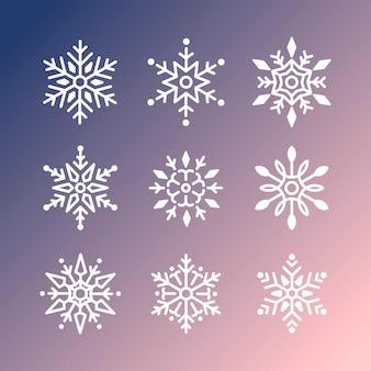 Conjunto de diseño navideño de copos de nieve