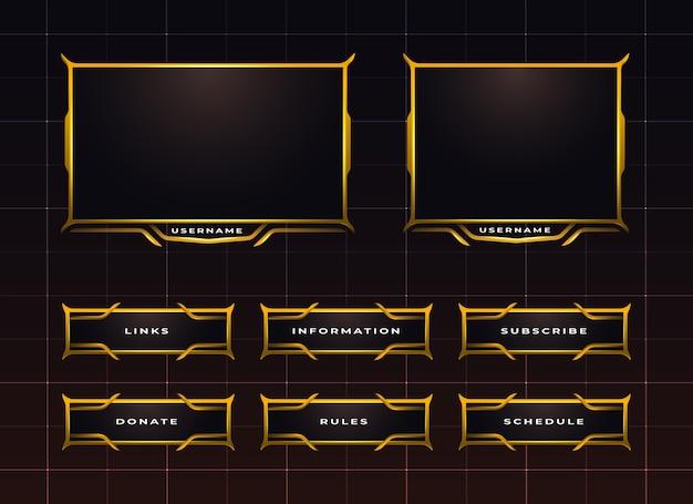 Conjunto de diseño de panel de transmisión de twitch dorado