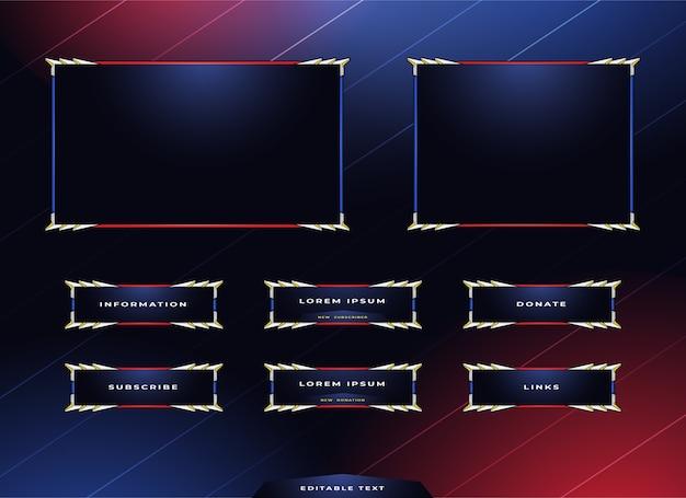Conjunto de diseño de panel de transmisión de twitch