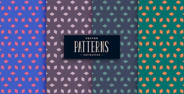 Conjunto de diseño de patrón geométrico abstracto de forma de diamante