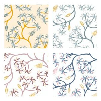 Conjunto de diseño de patrón de hoja de naturaleza