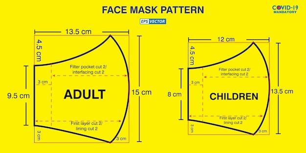 Conjunto de diseño de patrón industrial de mascarilla o patrón para crear una máscara médica