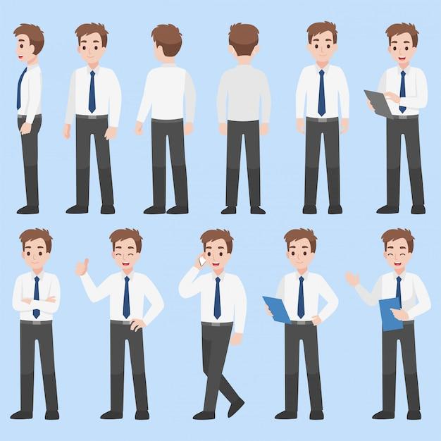 Conjunto de diseño de personajes de empresario en varias acciones concepto de negocio plano de dibujos animados.