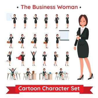 Conjunto de diseño de personajes de mujer de negocios
