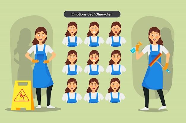 Conjunto de diseño de personajes de personal de limpieza mujer. presentación en diversas acciones con emociones, correr, pararse y caminar.