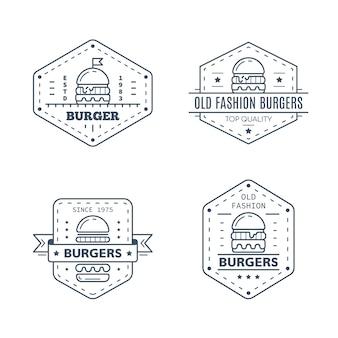 Conjunto de diseño de placa de hamburguesas aislado sobre fondo blanco.