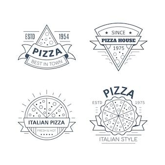 Conjunto de diseño de placa de pizza aislado sobre fondo blanco.