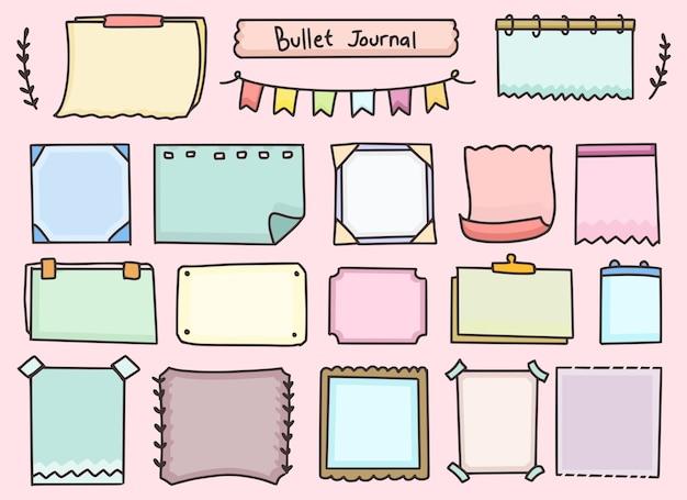Conjunto de diseño de planificación de papel de notas de diario de bala